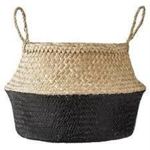 "Bloomingville 19"" Round x 11 1/2"" H Seagrass Basket Handles Natural and Black"