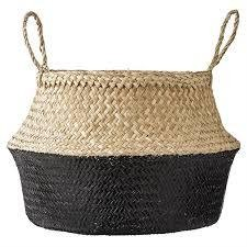 """Bloomingville 19"""" Round x 11 1/2"""" H Seagrass Basket Handles Natural and Black"""