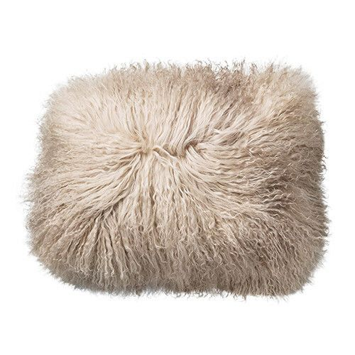 "Bloomingville 16""Square Tibetan Lamb Fur Pillow Sand Color"