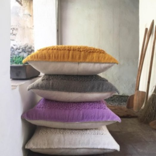 Mexchic Cotorin Ochre Pillow Wool with Insert  30 x 30 inches