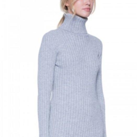 After Market Turtleneck Grey Sweater with Grey Assymetrical Hem