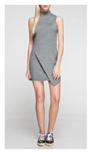 Babel Grey Mock Neck Dress