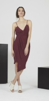 Shilla Abstract Drape Dress Wine
