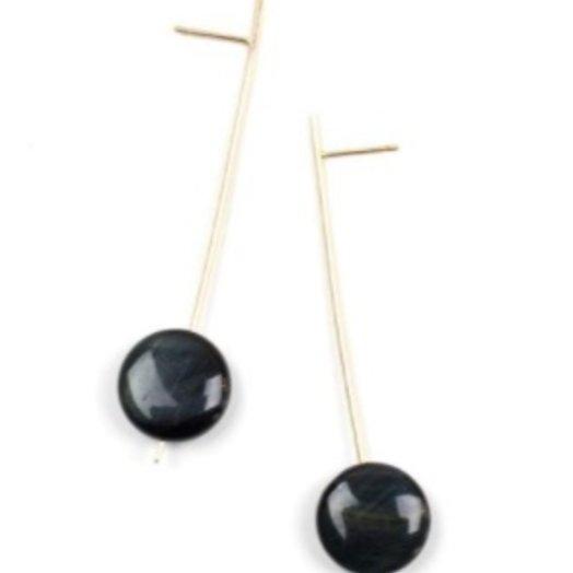 Baleen Pendulum Drop Earrings Blue Tigers Eye