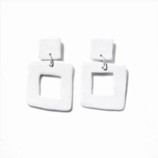 Levens L Square White Porcelain Earrings