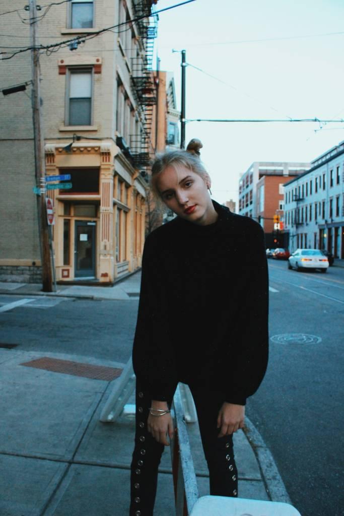 Margaret OLeary Black Tweed Cuff Sleeve Funnel Sweater