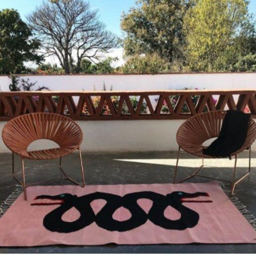 Mexchic Hand Woven Quetzalcoatl Snake Rug, Flat Weave Merino Wool