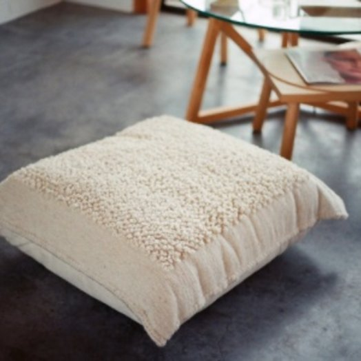 Mexchic X-large Floor Pillow in Boucle Cotorin Texture Cream Wool