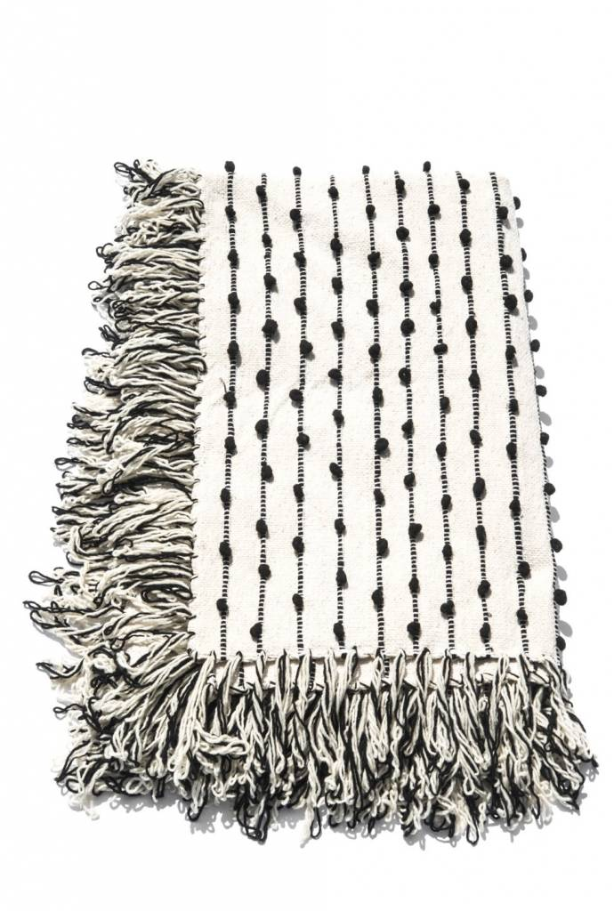 Mexchic Giant Wool Blanket with Delicate Boucle Puffs and Fringe in Black Cream, Queen Size
