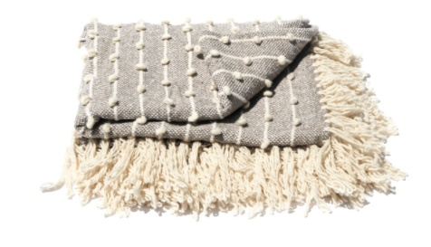 Mexchic Giant Wool Blanket with Delicate Boucle Puffs and Fringe in Grey Cream