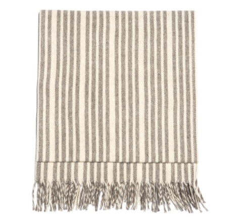 Mexchic Virgin Wool Traditional Mexican Blanket Cream and Grey Stripe MARFA