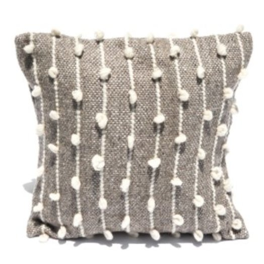 Mexchic Throw Pillow Hand Woven with Delicate Boucle Puffs in Grey Cream Wool
