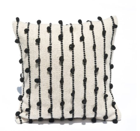 Mexchic Throw Pillow Hand Woven with Delicate Boucle Puffs in Cream Black Wool