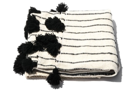 Mexchic Fluffy Blanket With Pom Poms Hand Woven in Cream and Black Wool