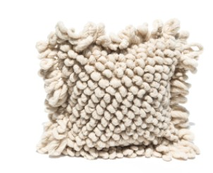 Mexchic Textured Loop Throw Floor Pillow, Hand Woven Cream Virgin Wool PALOMITA
