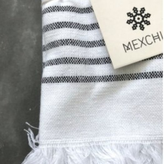Mexchic Dinner Napkin Set of 4, Hand Woven Stripe Design with White, Black