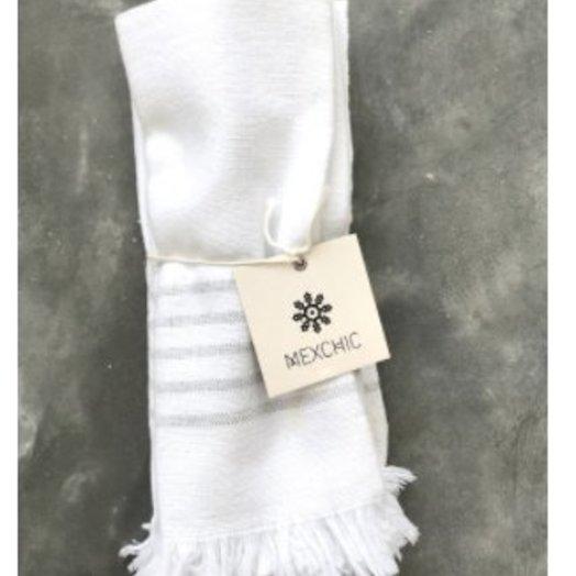 Mexchic Dinner Napkin Set of 4, Hand Woven Stripe Design with White, Grey