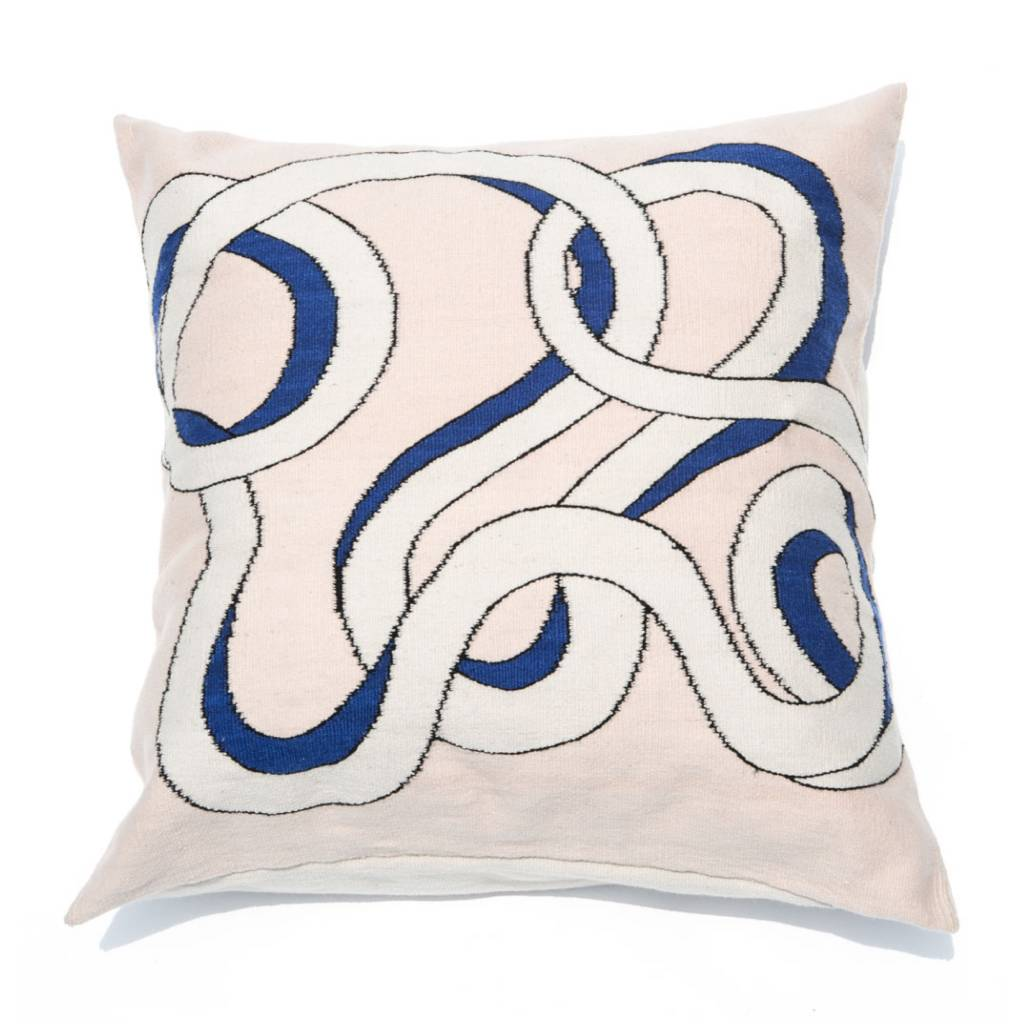 Mexchic Giant Floor Pillow, Snake Coils in Pink and Blue, Hand Woven Flat Weave Merino Wool