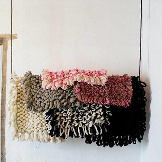Mexchic Wool Chunky Loop Hand Woven Boucle Throw Rug in Cream and Black PALOMITA