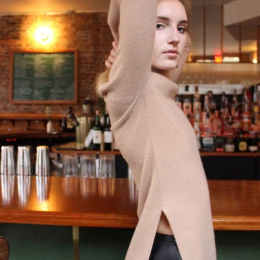 Margaret OLeary Brown Sugar Shyla Roll Neck Cashmere Sweater