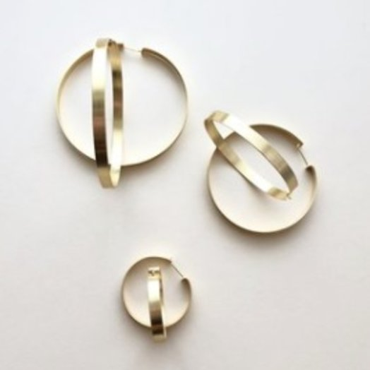 Machete 14K Brushed Gold Suzi Hoops