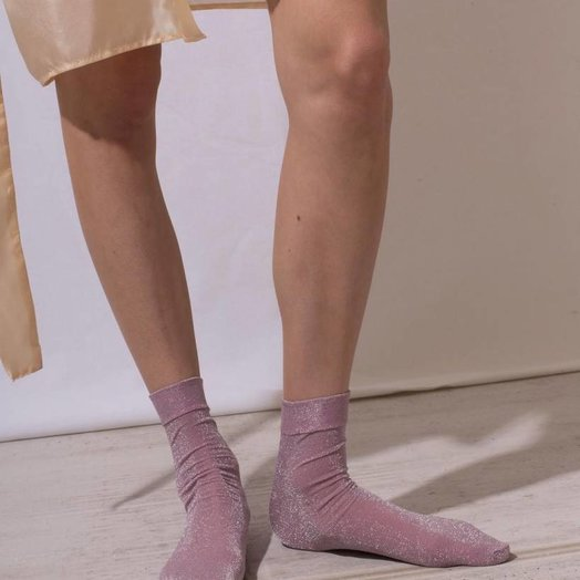The Great Eros Pink Lurex Socks, OSFA
