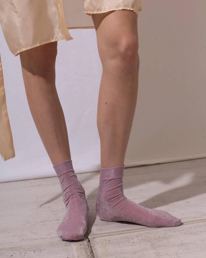 The Great Eros Pink Lurex Socks, OSFA