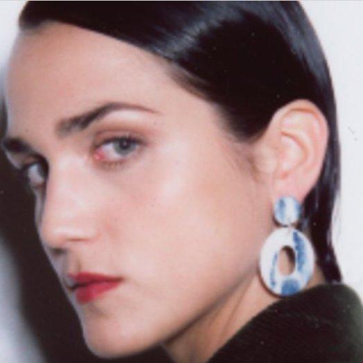Levens L Circle Denim Earrings
