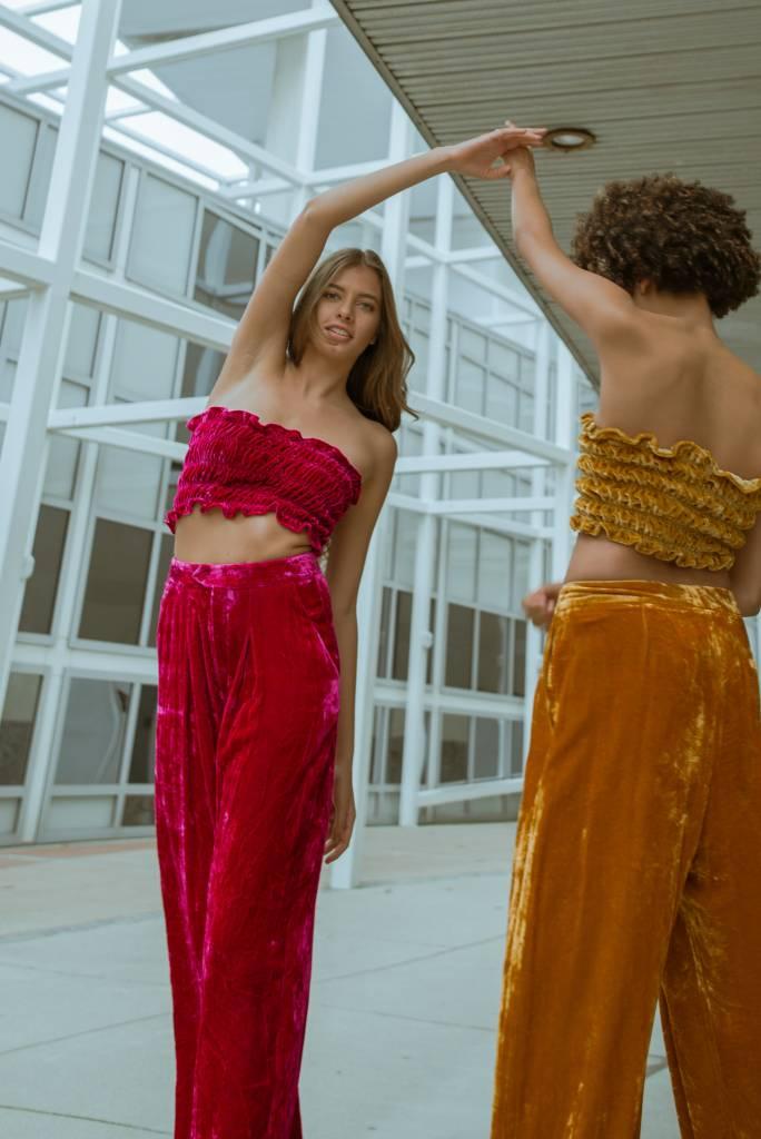 100% Silk Shirred Velvet Bandeau Top OSFA
