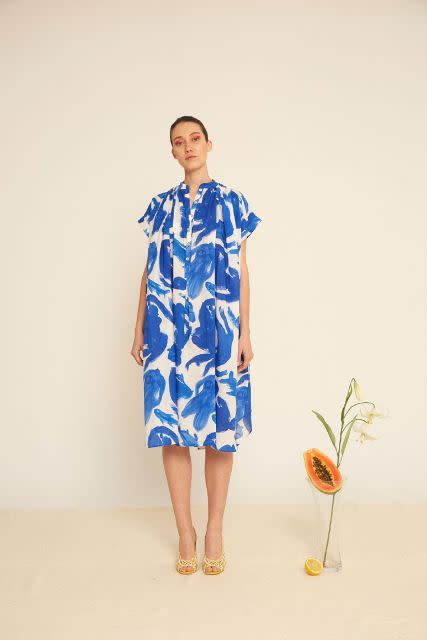Heinui Cora Dress in White and Blue Koi Print