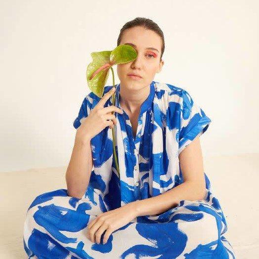 Heinui Cora Dress in White and Blue Koi Print