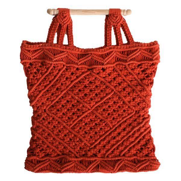 LF Markey Macrame Bag with Wooden Handle
