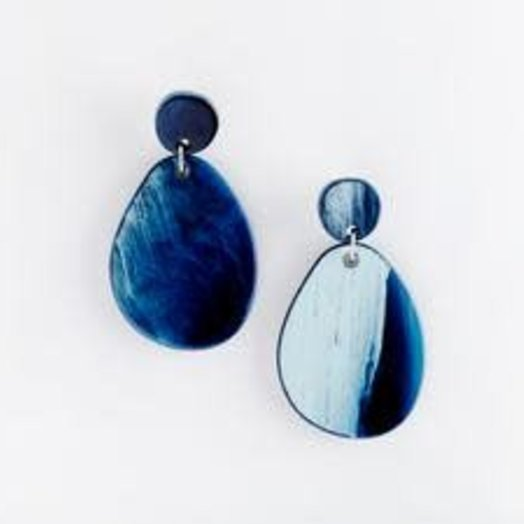 Valet Studio Pandora Earrings Navy Blue