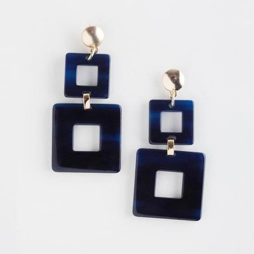Valet Studio Toucan Earrings Navy Blue