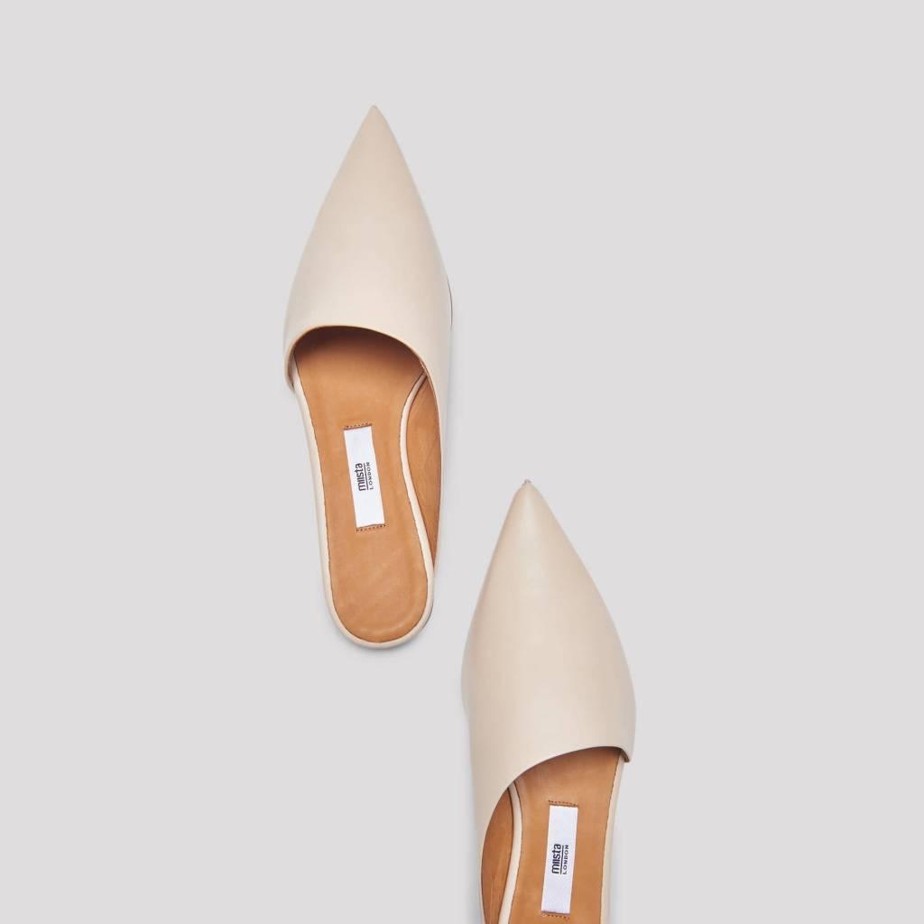 Miista Marlena Leather Flats in Oat