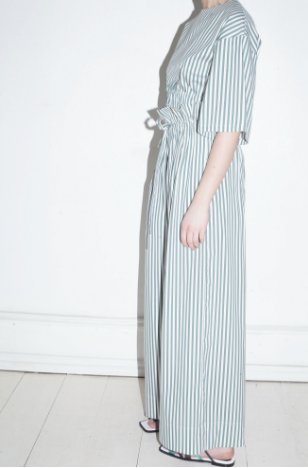 Mr Larkin Carrie Pant in Bottle Green Stripe