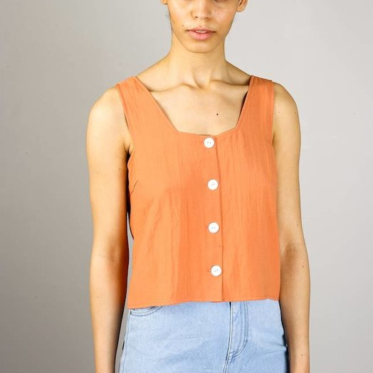 Native Youth Button Front Cami, Peach