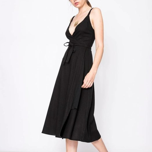 Rollas Diana Wrap Dress Black