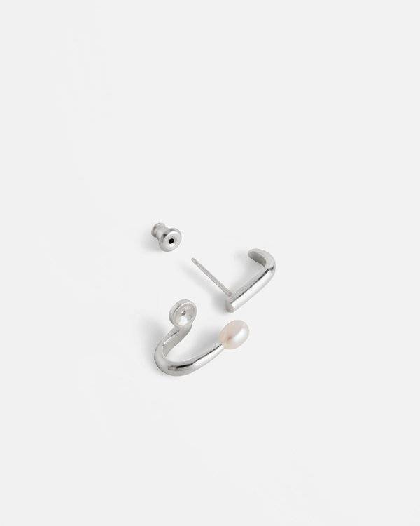 Knobbly Studio Coil Silver Earrings