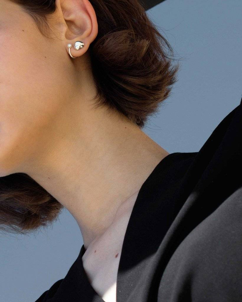 Knobbly Studio Twin Pearl SIlver Earrings