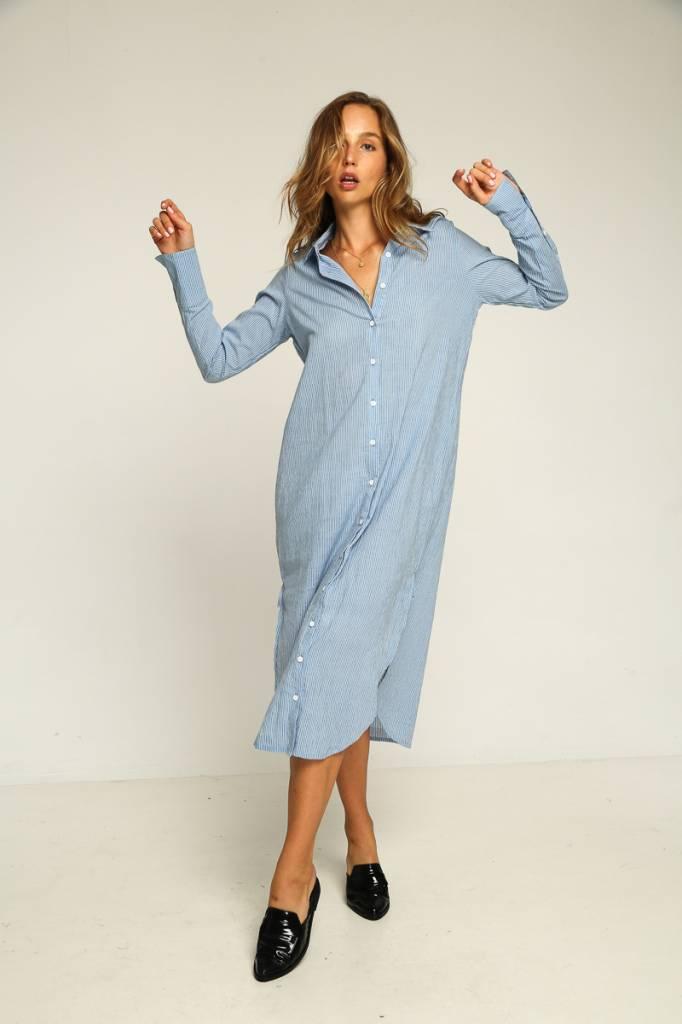 rue stiic Westwood Shirt Dress, French Blue Stripe