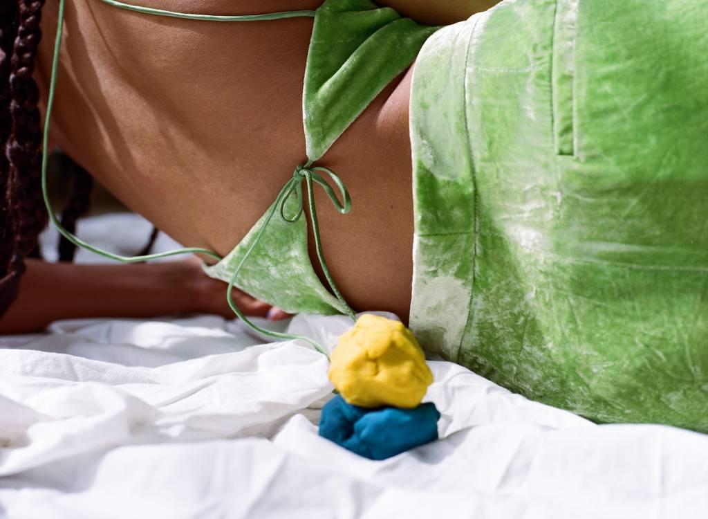 100% Silk Tie Back Halter, Celery Ice