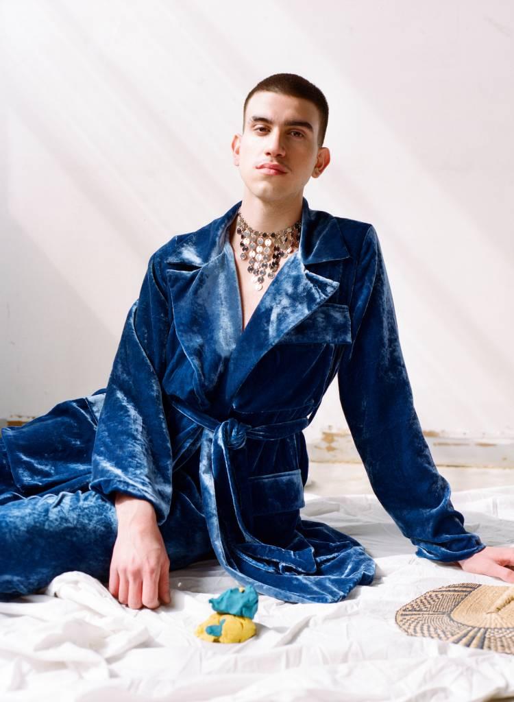 100% Silk Velvet Smoke Coat, Azure