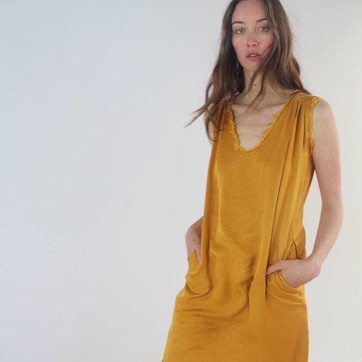 Love Tanjane Silky Satin Raw Edge Tussa Tank Dress Mustard