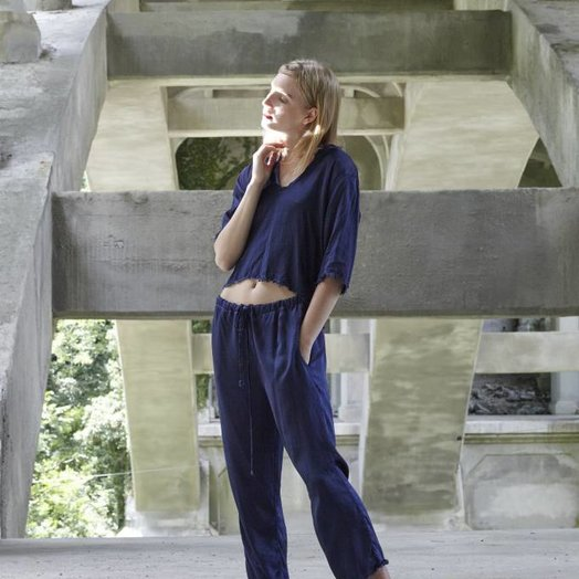 Love Tanjane Silky Satin Raw Edge Brit Pant Navy