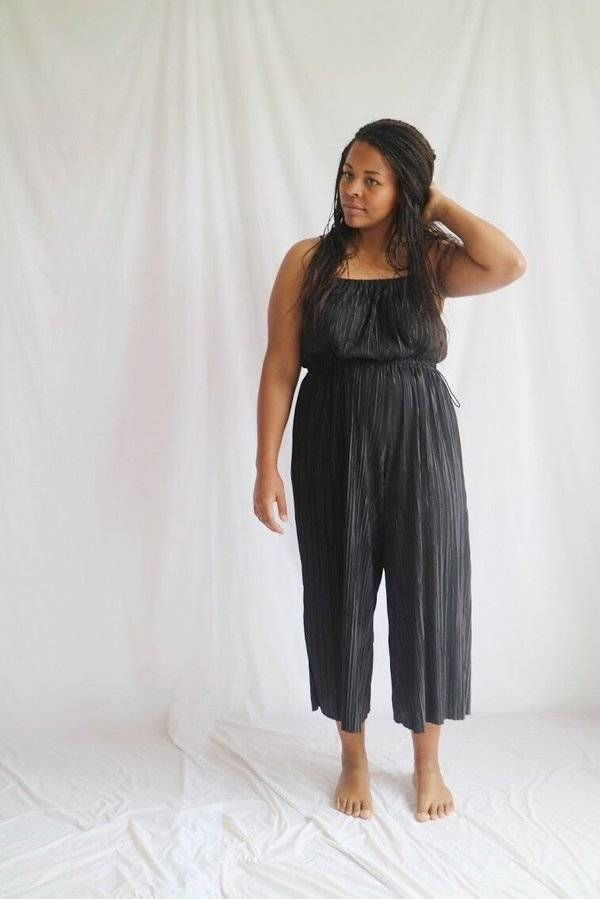 Oh Seven Days Black Sunday Pleated Jumpsuit OSFA