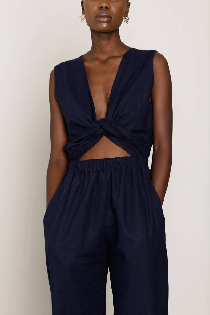 Selfi Sleeveless Wrap Jumpsuit, Navy Blue