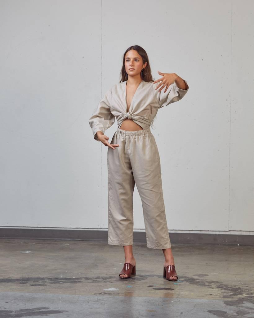 Selfi Oval Sleeve Jumpsuit, Stone