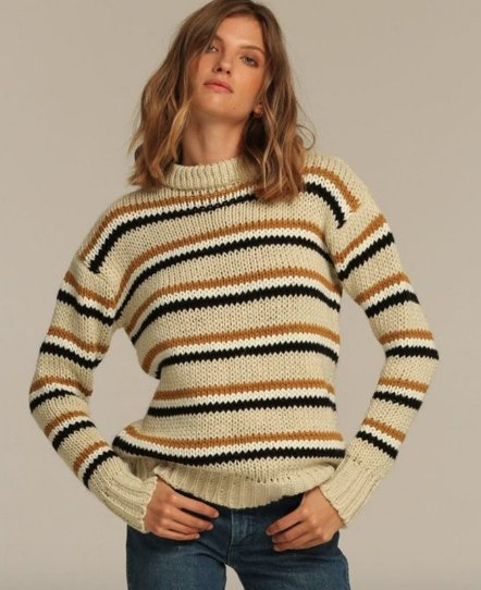 rue stiic Dusty Sweater, Honey, Charcoal, White Stripe