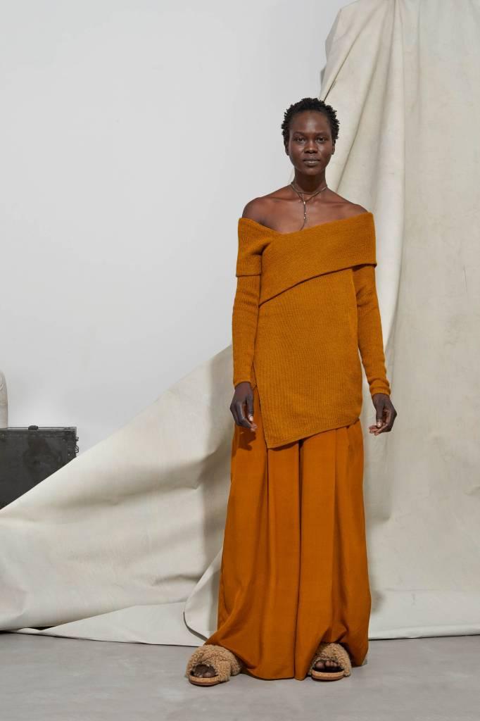 Laura Siegel 100% Alpaca Long Sleeve with Belt, Burnt Orange